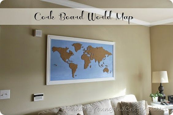 Young and Crafty Sisters: DIY Framed Cork Board World Map