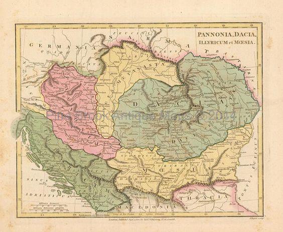 Ancient Balkans Romania Antique Map Wilkinson 1815 Original