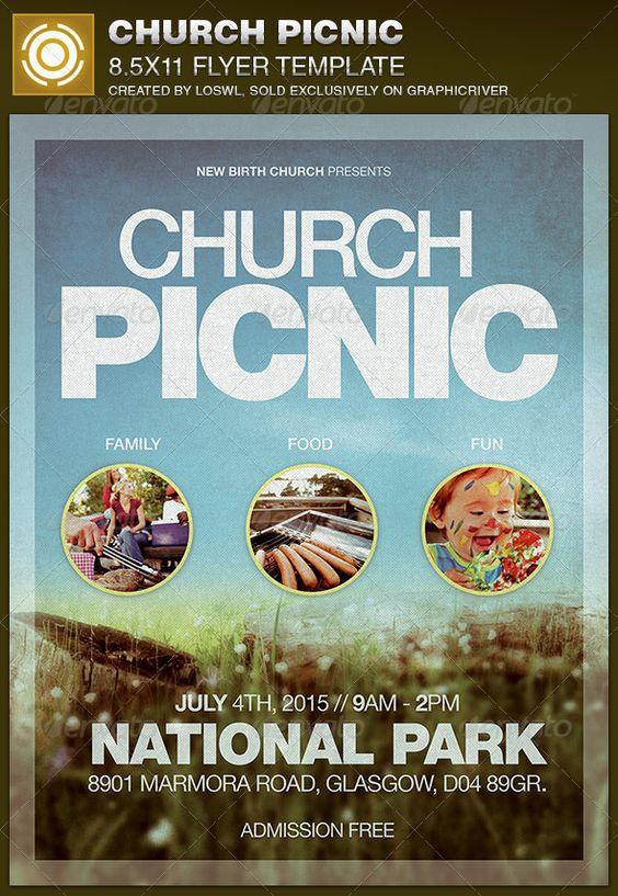 Church Picnic Flyer Template  Festivales Colores Y Iglesia