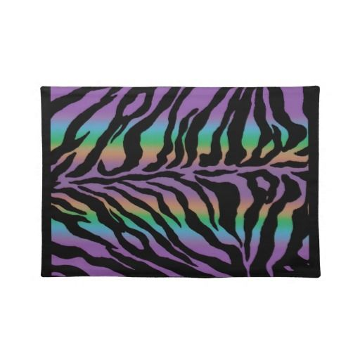 Psychedelic Rainbow Zebra Stripe Fun Collection Placemats