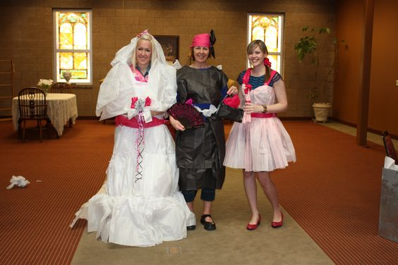 Bridal Shower Game--- Tissue Paper  - Three Teams-   Dress the Bride, the MOB and the Matron of Honor