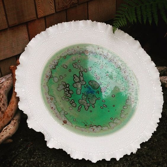 Crystalline Hand thrown and altered platter/plate....