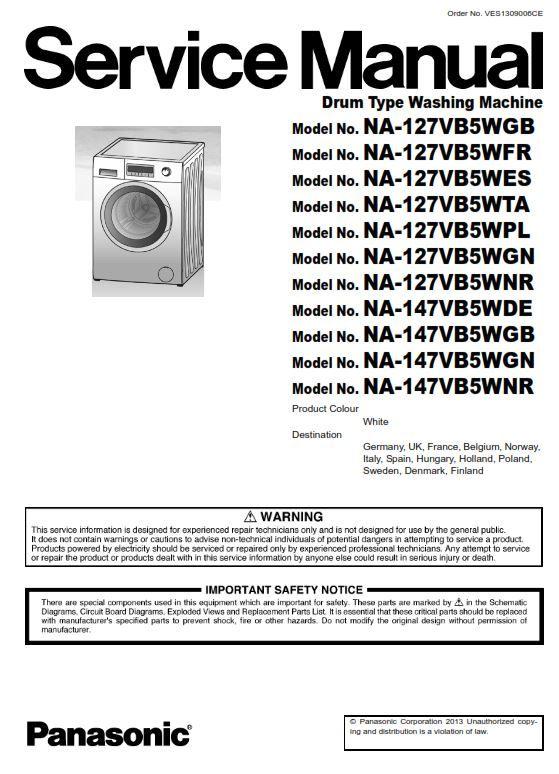 Panasonic Na 147vb5w Series Washing Machine Service Manual Washing Machine Service Repair Guide Panasonic