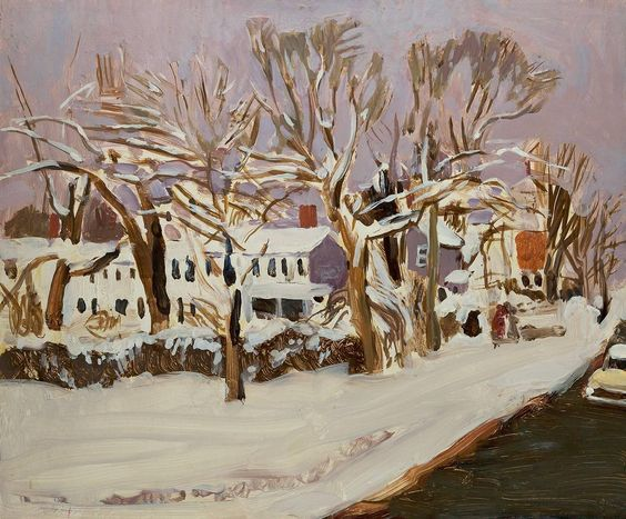 Snow on South Main Street | See more Landscape Paintings at https://www.1stdibs.com/art/paintings/landscape-paintings on 1stdibs