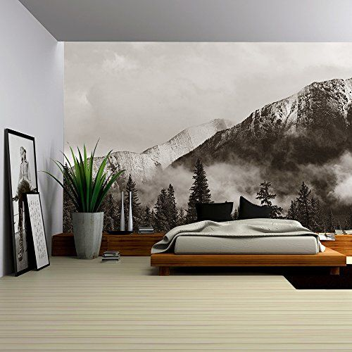 Wall26 Banff National Park View Panorama With Foggy Mou Https Www Amazon Com Dp B073tvjc5b Ref Cm Sw R Removable Wall Murals Wall Murals Foggy Mountains