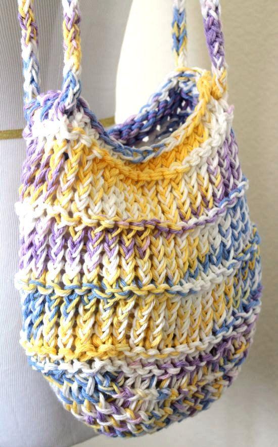 Loom Knit Bag Cotton Mesh Pastel Tote Pastel Beaches
