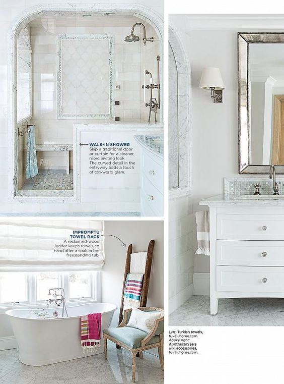 Here are larger light color tiles in a brick pattern i for Good housekeeping bathrooms