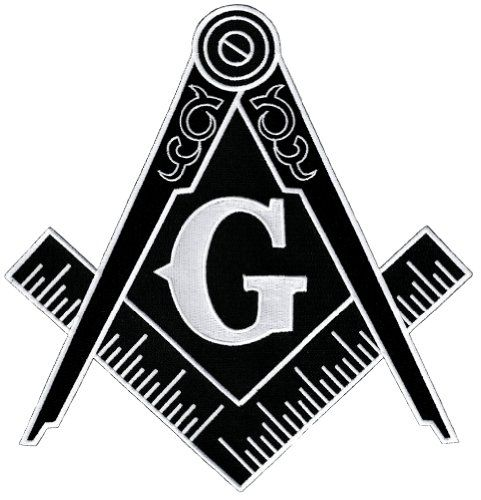 Masonic logo large black patch embroidered iron on freemason emblem square compass cypress for Freemason vector