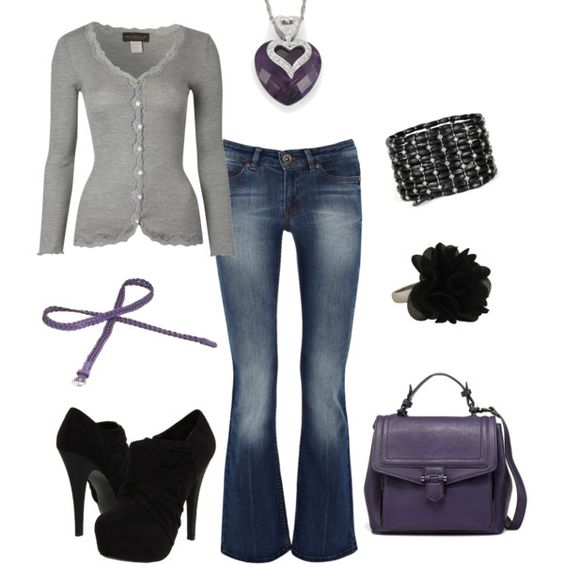 casual and cute. grey purple black.