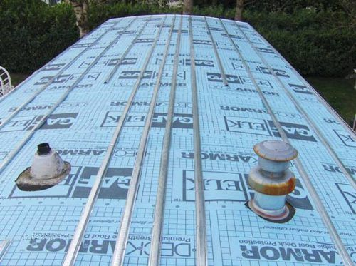 Mobile Home Roof Over Covered In Deckarmour And Then Metal Hat Track Approximately 16 Inches Apar Mobile Home Roof Mobile Home Living Remodeling Mobile Homes