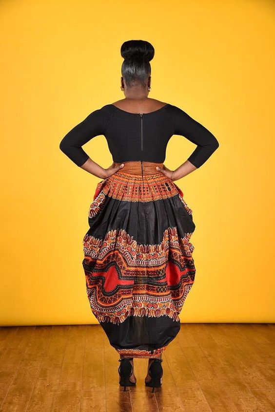 African print dashiki harem skirt pleated front and back waist with