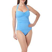 Tommy Bahama embodies the island lifestyle, offering charming designs in quality fabrics. This one piece swimsuit offers a ruched front, a halter neckline and an empire top with split front.