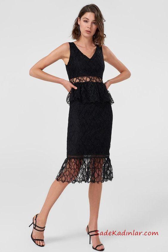 2019 Siyah Dantel Elbise Modelleri Siyah Midi Kolsuz V Yaka Gobek Ve Etek Kismi Dantel Siyah Dantel Elbiseler Dantel Elbise Elbise Modelleri