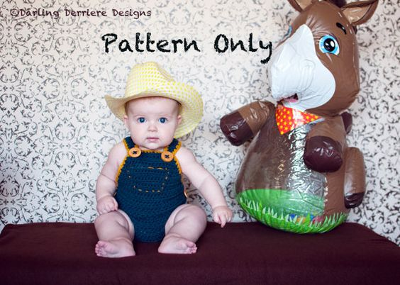 Instant Download PDF Baby Crochet Diaper Cover Overalls Pattern via Etsy