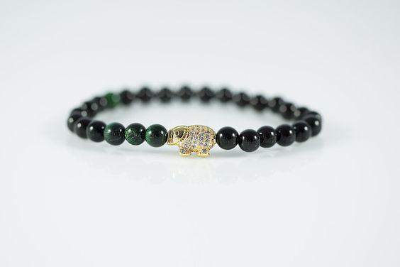 Gold Plated Elephant Black/Green Bracelet