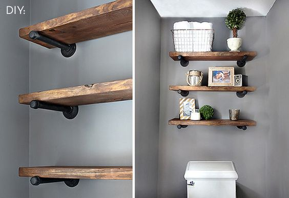 how to make your own restoration hardware inspired pipe shelving pipe shelving pipes and. Black Bedroom Furniture Sets. Home Design Ideas