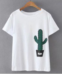 Brief Short Sleeve Cactus Printed Pullover T-Shirt For Women (WHITE,L) | Sammydress.com Mobile