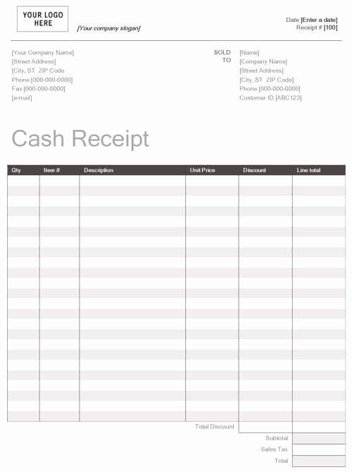 Cash Register Receipt Template Lovely Printable Cash Receipt Template Word Doc In 2020 Receipt Template Templates Receipt