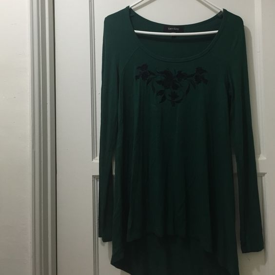 By Karen Kane blouse A long sleeve blouse from Karen Kane. Dark green, Very unique flower designed in the front and soft material. Karen Kane Tops Blouses