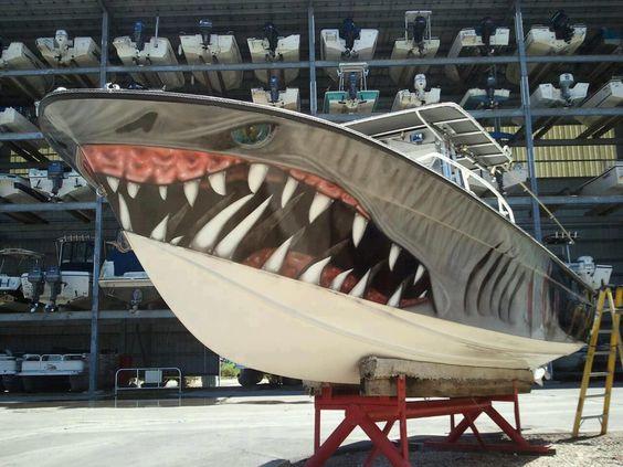Shark boat graphic