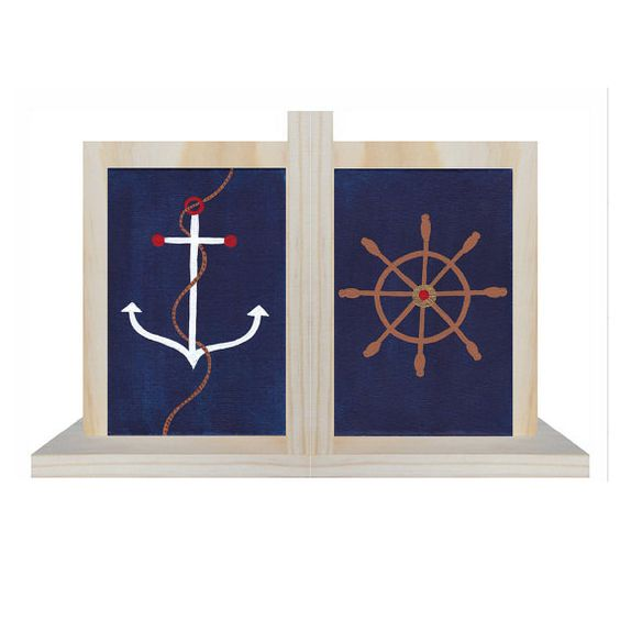 Hand Painted Bookend - Pair of Custom Children's New England Ocean Nantucket Cape Cod Style Nautical Kid's Bookends or ANY Theme £34.42 Etsy