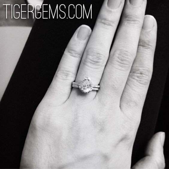 🌸 Thank you to my client for this photo of her 1.5 ct pear halo ring set. 🌸 ✨ Shop Now at www.TigerGems.com. 🐯✨