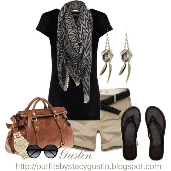 black and brown, created by stacy-gustin on Polyvore: Casual Outfit, Outfit Idea, Dream Closet, Summer Style, Cute Outfits, Khaki Shorts, Spring Summer, Summer Outfits