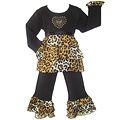 Ann Loren Girl's 'Rumba' Cotton 2-piece Leopard Ruffle Shirt and Pant Set