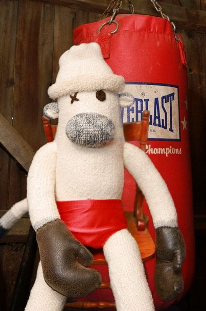 Rocky the boxing  martial arts sock monkey by DeesMonkeyBusiness, $79.99