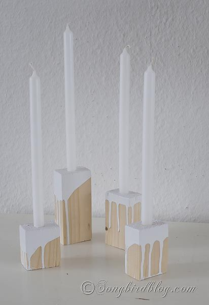 handmade wooden candle holders. Via Songbird blog #candle #holder #candlestick #craft: