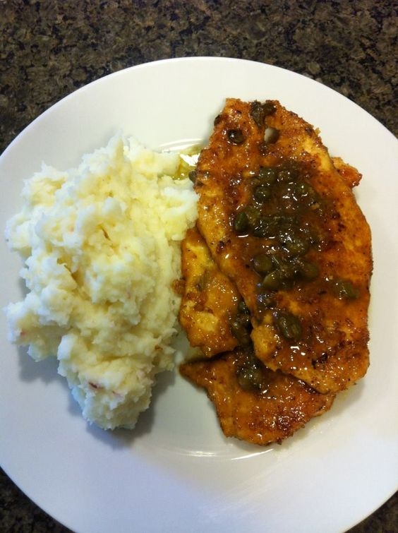 Chicken piccata with mashed baby reds- Those are capers on top