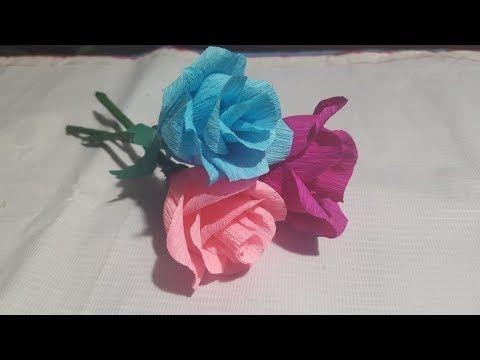Cara Membuat Bunga Mawar Dari Kertas Krep Youtube Gambar Bunga Bunga Mawar Kertas Krep