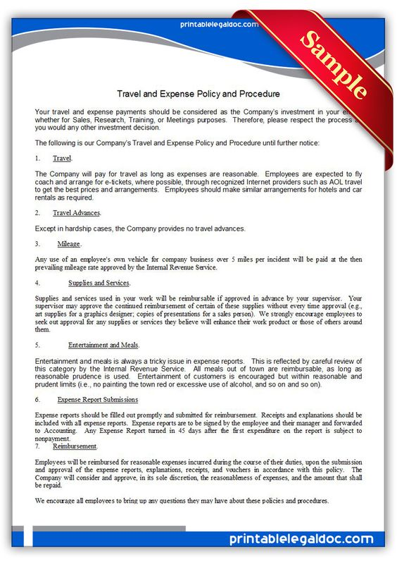 Printable travel and expense policy and procedure Template - policy and procedure template
