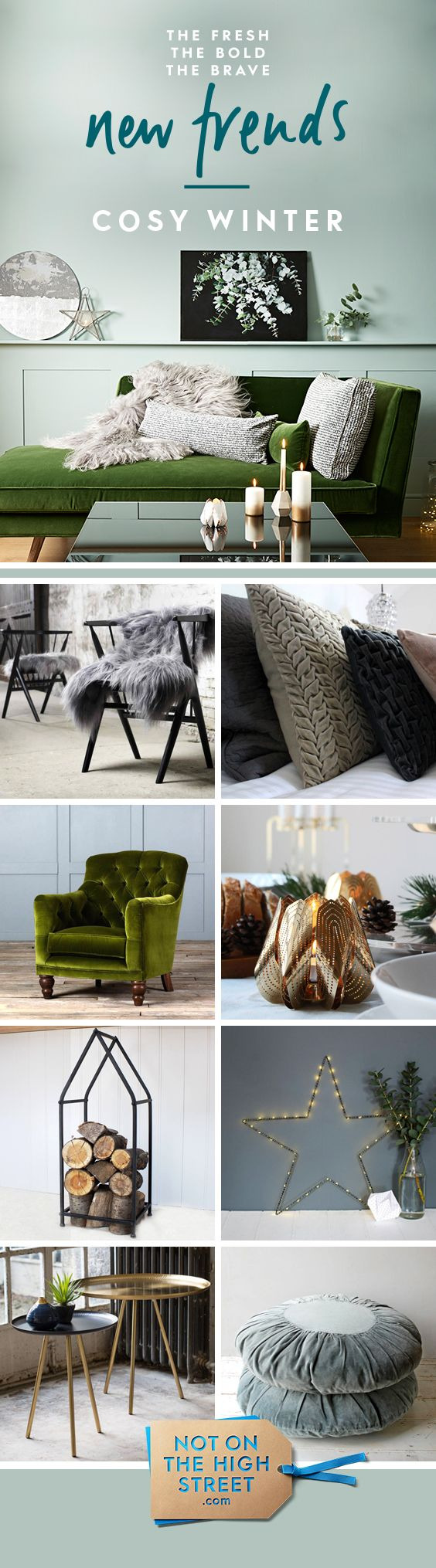 Think dark, elegant colours alongside warm lighting and metallic surfaces. Achieve this look by combining dark velvets and multiple light sources such as fairy lights, lanterns and floor lamps.