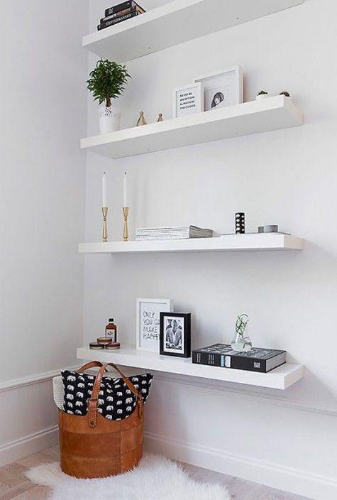 Modern White Floating Shelves Will Fit A Modern Scandinavian Or Minimliast Space Floatingsh White Floating Shelves Ikea Lack Shelves Floating Shelves Bedroom