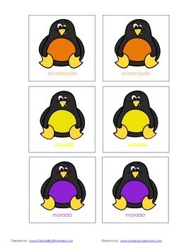 This freebie is a Penguin Memory Game (can also be played as a scavenger hunt) with the English colors red, orange, yellow, green, blue, and purple, as well as the Spanish colors rojo, anaranjado, amarillo, verde, Azul, and morado.  Penguin graphics can be found here http://www.teacherspayteachers.com/Product/FREEBIE-Rainbow-Penguin-Clipart-Set-Commercial-Use-Okay-984972   and are by:  www.amazingclassroom.com