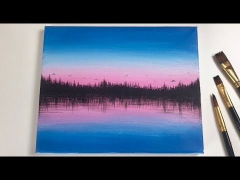 Acrylic Sunset Forest Painting Tutorial For Beginners Youtube Forest Painting Painting Tutorial Sunset Painting Acrylic