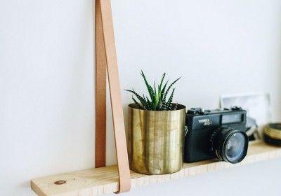 DIY Leather hanging shelves