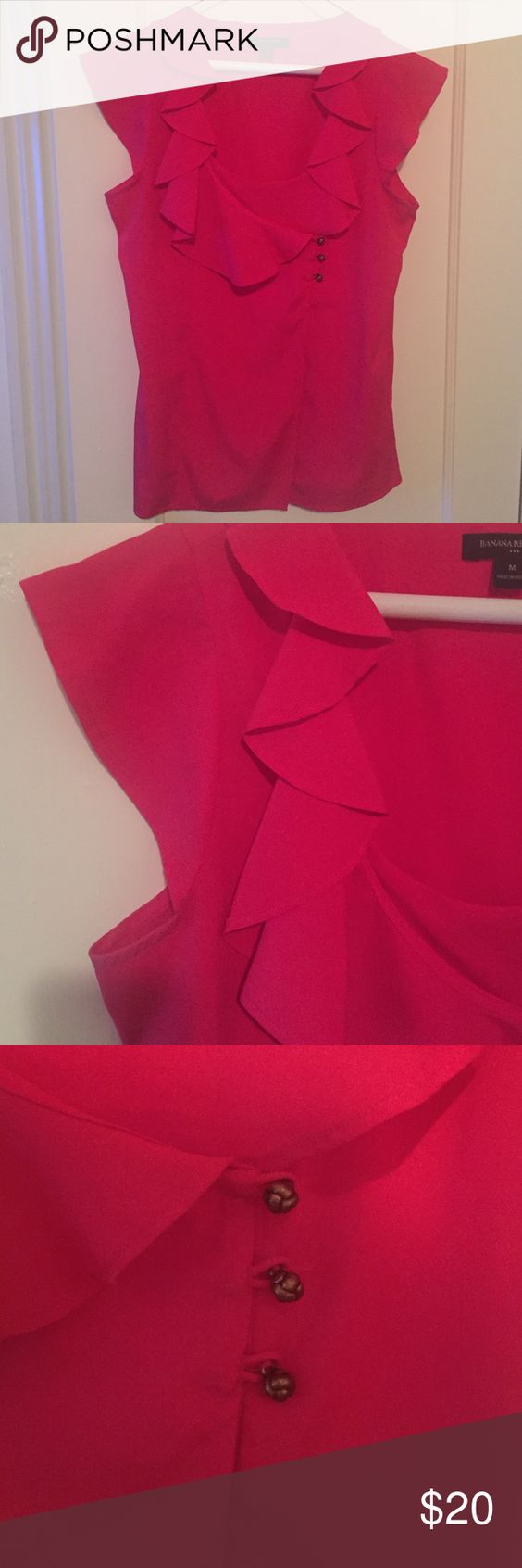 Banana Republic Ruffled Cap-Sleeve Blouse Beautiful magenta blouse... Great for work! Ruffle detail on collar. Cap sleeves. Button accent. 100% polyester. Banana Republic Tops Blouses
