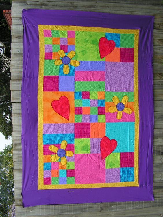 Flowers and Stars Quilt52 x 76 by OverTheMoonQuilts on Etsy, $12.00