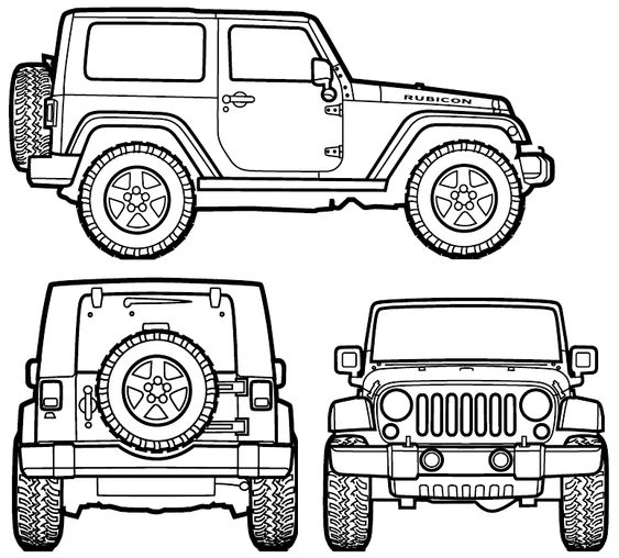 2007 jeep wrangler rubicon suv blueprint