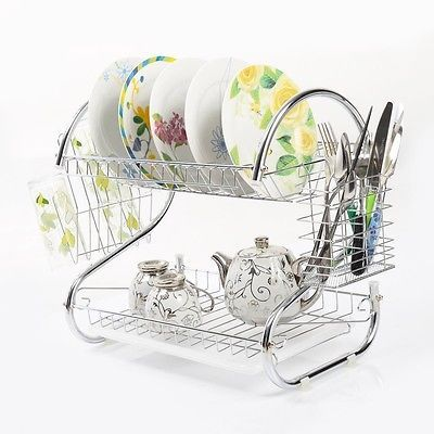 2 Tiers Dish Drainer Dryer Kitchen Cup Drying Rack Tray Cutlery Holder Organizer