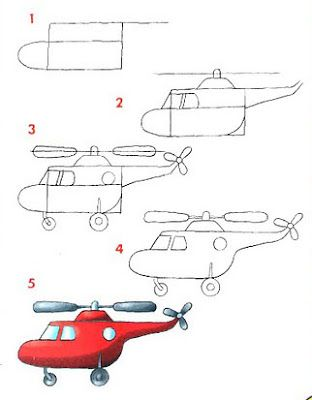 how to draw a simple helicopter