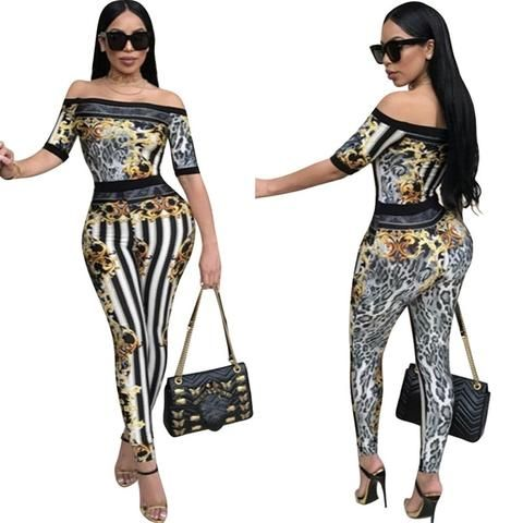 Vovotrade Women Printed Dress Jumpsuit Fashion V-Neck Long Sleeve Playsuit Party Clothes