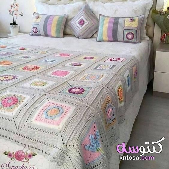 مفارش سرير بالكروشي للعرائس مفرش سرير كروشيه سهل غطاء سرير بوحدات كروشي مفرش سرير كروشي Crochet Bedspread Granny Square Crochet Pattern Crochet Square Patterns