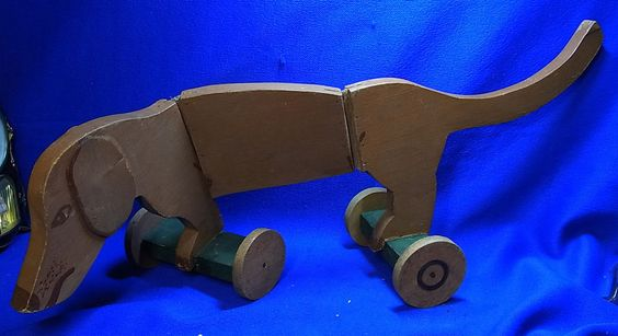 Antique German Wood Carved Folk Art Pull Toy Dachshund Dog #BB