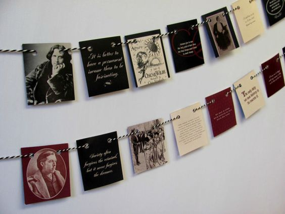 Oscar Wilde quotations garland ~ Book bunting ~ Upcycled book lover banner ~ Eco-friendly tea party flags - Etsy