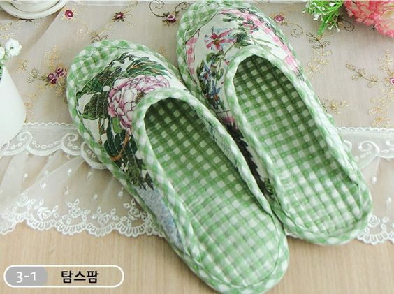 House Shoes Slippers Cotton Indoor Home living room Kitchen Shoe for Women GREEN #topmintstar #SlipperShoes