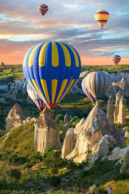 Hot Air Baloons over the Love Valley at sunrise , Cappadocia Turkey: