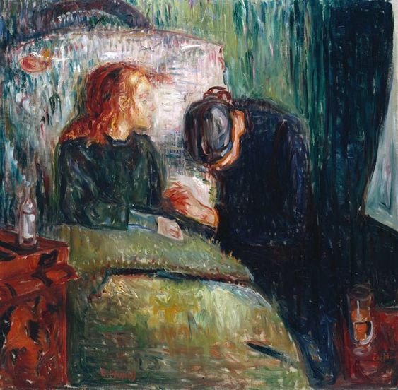 Edvard Munch's The Sick Child, from the Tate. Can't figure out whether I relate more to the child or her bedside visitor.